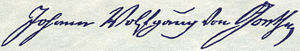 English: signature of Johann Wolfgang von Goet...