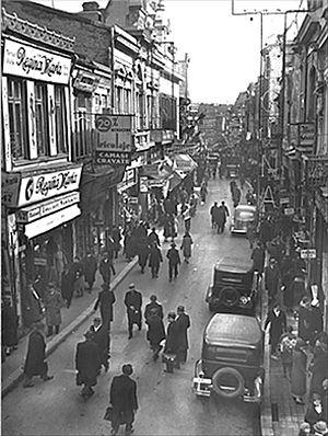 Strada Lipscani în perioada interbelică