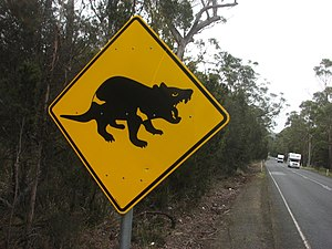 English: A road sign in Tasmania alerting driv...