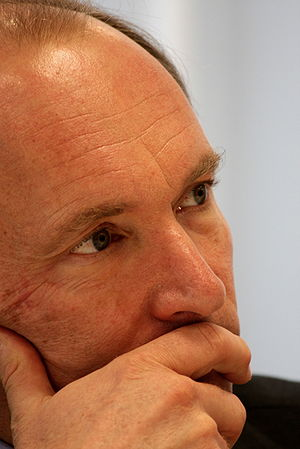 Closeup of a thoughtful Tim Berners-Lee at the...