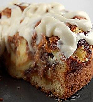 Cinnamon roll cheesecake.