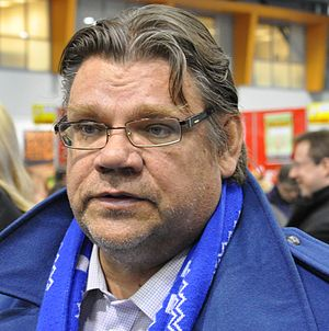 Chairman of the True Finns party Timo Soini at...