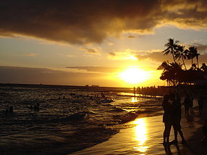 Waikiki Beach at sunset, looking east from the...