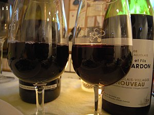 Glasses of the French wine from Beaujolais
