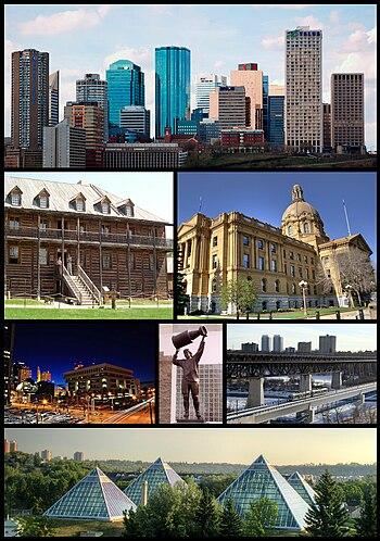 From top left: Downtown Edmonton, Fort Edmonto...