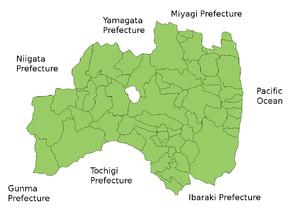 Map of Fukushima Prefecture.