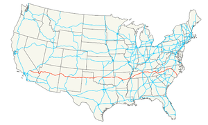 Map of Interstate 40