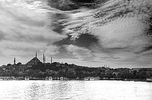 English: A black and white view of Istanbul. T...