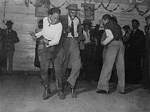 Jitterbugging in Negro juke joint, Saturday ev...