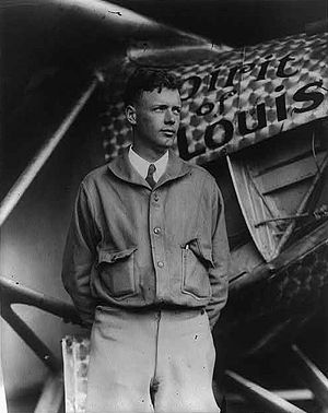 Charles Lindbergh, with Spirit of St. Louis in...