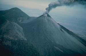 Ashy eruption at Pacaya, shortly after a very ...