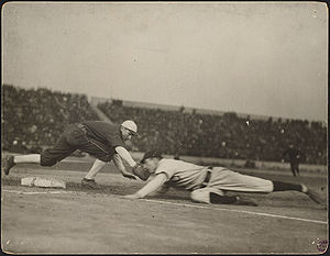 Pickoff attempt during one of the games. Frank...