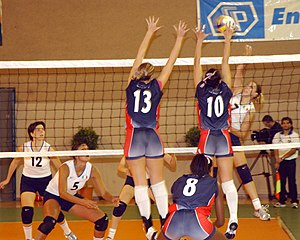 A U.S. vs. Italy women's volleyball match at t...