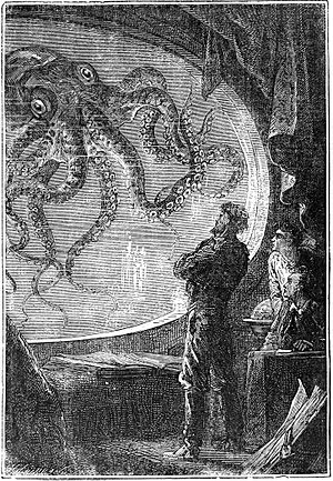 Engraving of Captain Nemo viewing a giant squi...