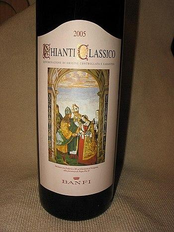 A bottle of the Italian wine Chianti Classico ...