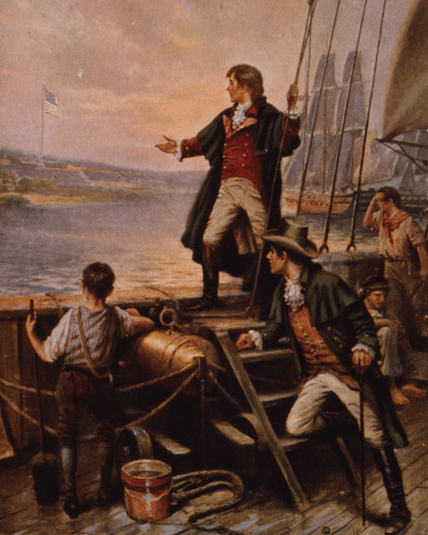 Francis Scott Key beholding the still-flying Star-spangled Banner, after the Battle of Baltimore, 1814.  1912 painting by Edgar Percy Moran, Wikipedia image.