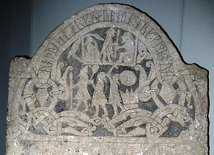 detail of an image stone with Thor, Odin and Freyr