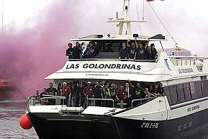 La plantilla del Barça llegó al puerto de Barc...