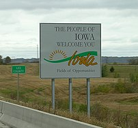 Iowa state welcome sign