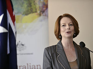 Julia Gillard speaking at the lanch of the Aus...