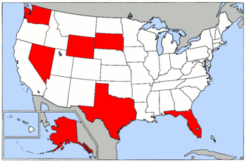Map of USA highlighting states with no income tax