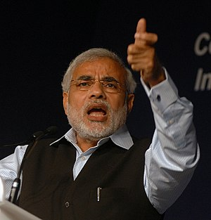 English: Image of Narendra Modi at the World E...