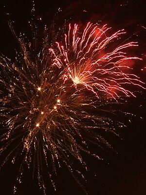 fireworks in Levenshulme, Manchester, UK