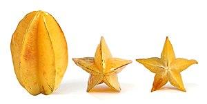 English: Ripe Carambolas, or starfruit, the fr...