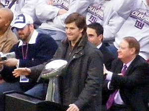 Eli Manning at the Giants Rally after victory ...