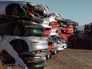 English: Piles of crushed GM EV1 electric cars