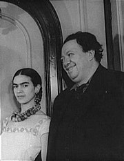 Frida Kahlo with Diego Rivera in 1932