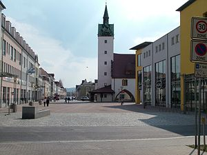 The car-free zone in front of the town hall of...