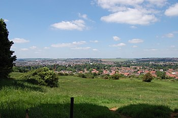 English: Grantham town centre as seen from the...
