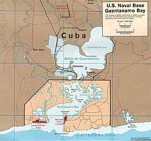 Map of Guantánamo Bay showing approximate U.S....