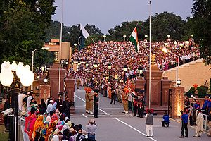 English: The evening flag lowering ceremony at...