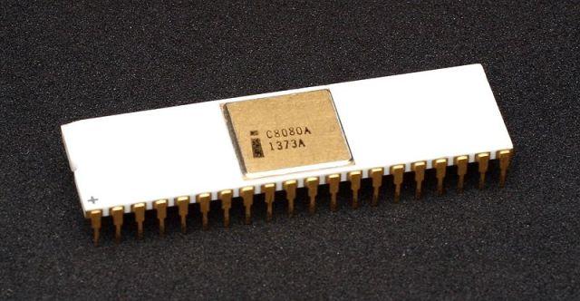 the Intel 8080 processor, image courtesy of Wikipedia