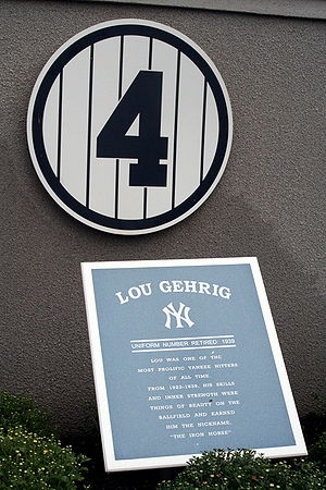 English: Lou Gehrig Monument in Yankee Stadium