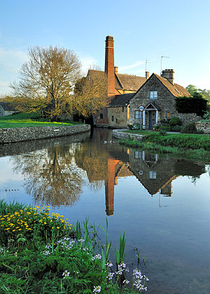 The mill and Cotswold cottage at Lower Slaught...