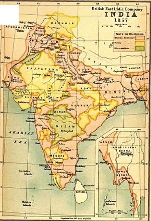 Map of India under the British East India Comp...