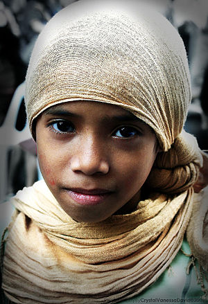 Girl wearing a hijab in the Philippines.