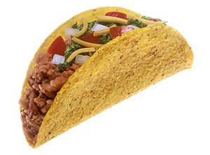 Hard-shell taco with meat, cheese, lettuce, to...