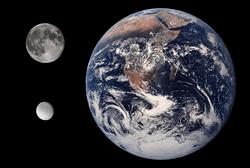 पृथ्वी, चन्द्रमा और रीआ(आकार की तुलना मे)