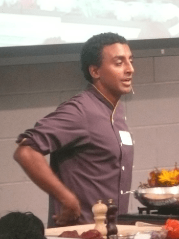 English: Marcus Samuelsson doing a lecture at ...