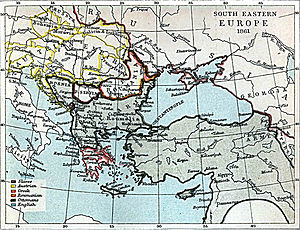English: Map of south-eastern Europe in 1861 AD.
