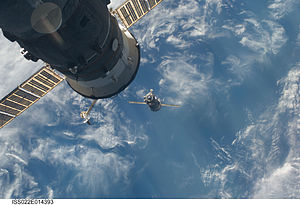 Soyuz TMA-17 approaches ISS