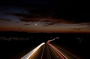 English: Trakia highway at night