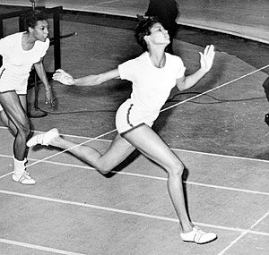 Wilma Rudolph at the finish line during 50 yar...