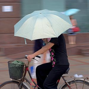 English: A woman is riding her bike under the ...
