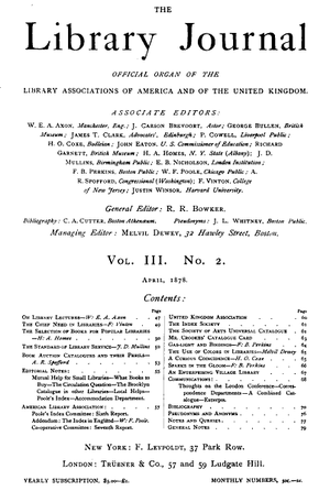 Library Journal v.3, no.2, April 1878