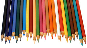 An array of colored pencils, these pencils are...